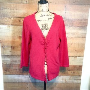 Talbots Red Pink Long Sleeve Sweater Caridgan